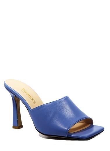 Nemesis Shoes Nemesis Shoes Gerçek Deri Topuklu Kadın Terlik Mavi